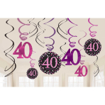 Pink Sparkling Celebration 40th Swirl Decorations - 12 PKG/12