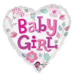 Baby Girl Heart Standard Foil Balloons S40 - 5 PC