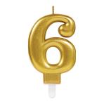 Gold Metallic Finish Candles #6 - 12 PC