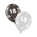 "18th Happy Birthday Shimmering Silver & Deepest Black Printed Latex Balloons 11""/27.5cm - 25 PC"