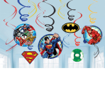 Justice League Swirl Decorations - 6 PKG/12