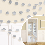Silver Glitter String Decoration 2.13m - 6 PKG/6