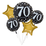 Gold Sparkling Celebration 70th Birthday Foil Balloon Bouquets P75 - 3 PC