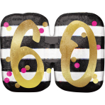 """Pink & Gold 60th Birthday Holographic SuperShape Foil Balloons 25""""/63cm x 22""""/55cm P40 - 5 PC"""