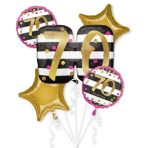 Pink & Gold 70th Birthday Foil Balloon Bouquets P75 - 3 PC