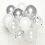 "Silver DIY Latex Balloon Kits 11""/27cm - 8 PKG/10"