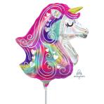 Heart Unicorn Satin Mini Shape Foil Balloons A30 - 5 PC