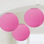 Bright Pink Round Paper Lanterns 24cm - 12 PKG/3