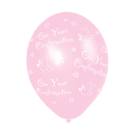 "Confirmation (Pink) Printed Latex Balloons 11""/27.5cm - 10 PKG/6"