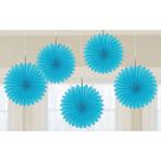 Caribbean Blue Paper Fans 15cm - 6 PKG/5