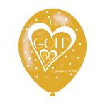 "Gold 50th Anniversary Latex Balloons 11""/27.5cm - 10 PKG/6"