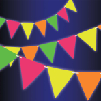Neon Paper Pennant Banners 4.5m - 12 PC