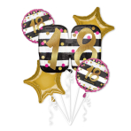 Pink & Gold 18th Birthday Foil Balloon Bouquets P75 - 3 PC