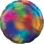 Rainbow Iridescent Circle Standard HX Packaged Foil Balloons S40 - 5 PC
