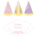 Fairy Princess Cone Hat Invitations with Envelopes - 6 PKG/6