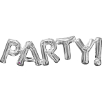 """Party!"" Phrase Silver SuperShape Foil Balloons 33""/83cm w x 9""/22cm h S55 - 5 PC"