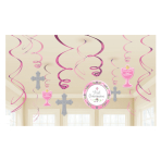 1st Communion Pink Swirl Decorations - 6 PKG/12