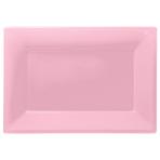 Baby Pink Plastic Serving Platters - 6 PKG/3