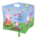 """Peppa Pig & Friends Cubez Foil Balloons 15""""/38cm w x 14""""/38cm h G40 - 5 PC"""