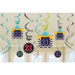21st Celebrate Swirls Decorations - 12 PKG/12