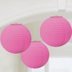 Bright Pink Paper Lanterns 24cm - 6 PKG/3