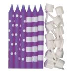 New Purple Dots & Stripes Candles - 12 PKG/12