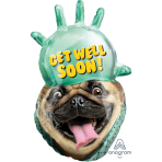 "Avanti Get Well Pug SuperShape Foil Balloons 20""/50cm w x 32""/81cm h P35 - 5 PC"