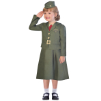 WW2 Girl Soldier Costume - Age 9-10 Years - 1 PC