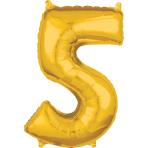 """Number 5 Gold SuperShape Mid-Size Foil Balloons 18""""/45cm w x 26""""/66cm h P31 - 5 PC"""