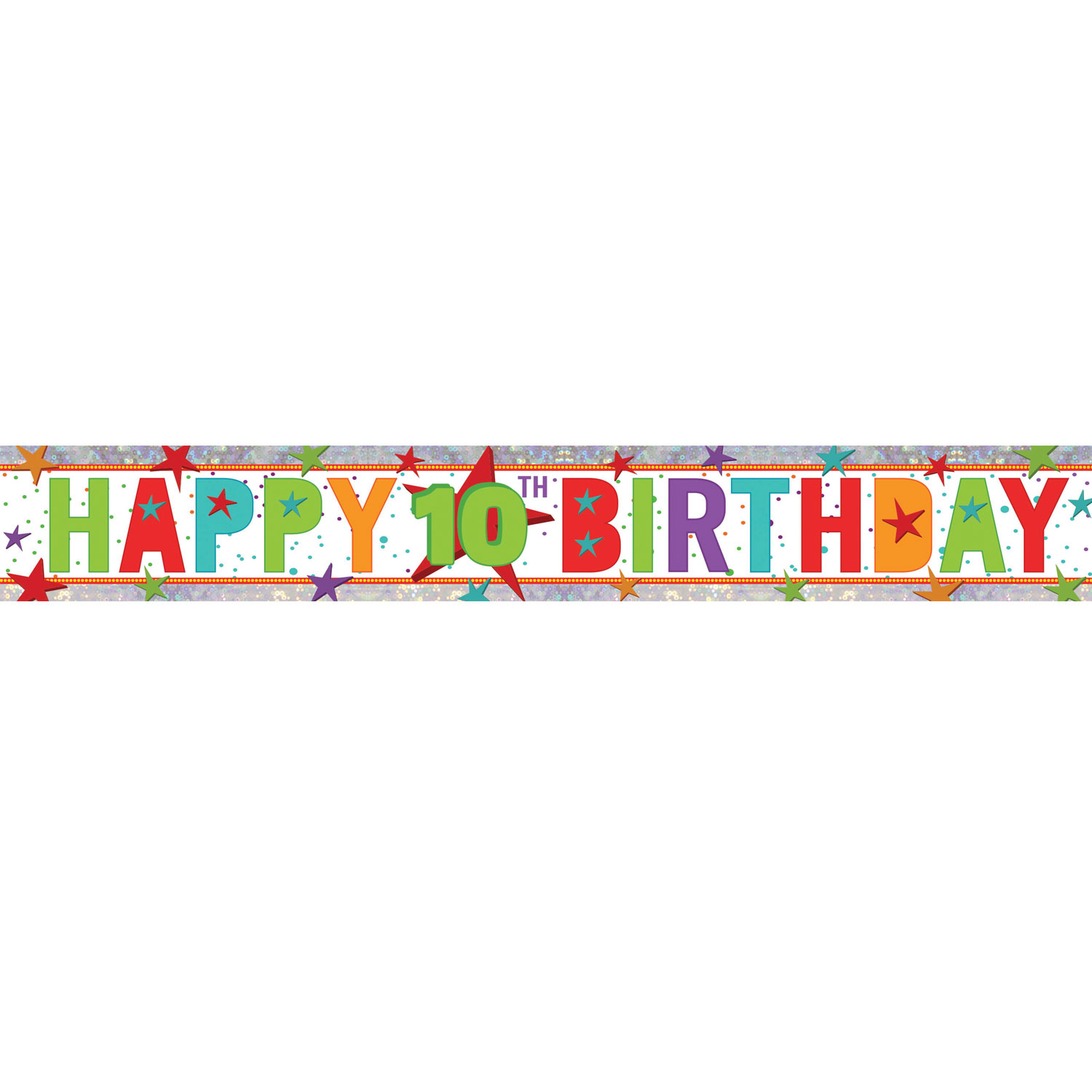 Happy 10th Birthday Holographic Foil Banners 2 7m - 12 PC