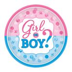 Girl or Boy Paper Plates 18cm - 12 PKG/8