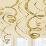 Gold Plastic Swirls 55cm - 6 PKG/12