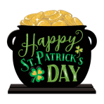 Happy St. Patrick's Day Pot of Gold MDF Signs 27cm - 6 PC