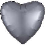Graphite Heart Satin Luxe Standard HX Packaged Foil Balloons S15 - 5 PC