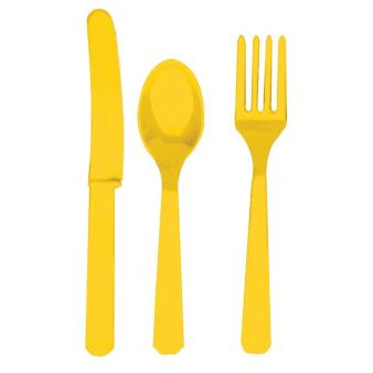 Sunshine Yellow Cutlery Assortment - 12 PKG/24