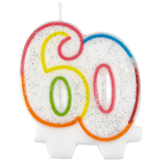 Milestone Birthday Candles 60th - 7.5cm - 6 PKG