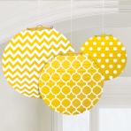Sunshine Yellow Dots & Chevron Round Lanterns 24cm - 6 PKG/3