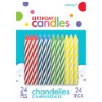 Spiral Assorted Candles 6cm - 12 PKG/24