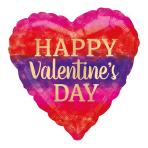 Happy Valentine's Day Watercolour Stripes Standard HX Foil Balloons S40 - 5 PC