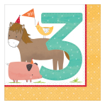 Barnyard 3rd Birthday Luncheon Napkins 33cm  - 12 PKG/16