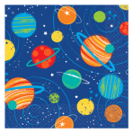 Blast Off Birthday Beverage Napkins 25cm - 12 PKG/16