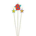 Star Birthday Candles Number 8 - 12.2cm & 13.5cm - 12 PKG/3