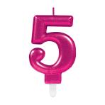 Pink Metallic Finish Candles #5 - 12 PC