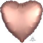 Rose Copper Heart Satin Luxe Standard HX Foil Balloons S15 - 5 PC