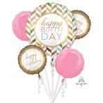 Happy Birthday Confetti Fun Foil Balloon Bouquets P75 - 3 PC