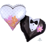 "Wedding Couple Hearts SuperShape Foil Balloons 30""/76 cm w x 25""/63cm h - P35 5 PC"