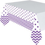 New Purple Chevron Plastic Tablecovers 1.37m x 2.6m - 6 PC