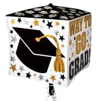 """Way to Go Grad Cubez Foil Balloons 15""""/38cm x 15""""/38cm G20 - 5 PC"""