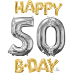 """Happy 50 B-Day"" Phrase & Number Bunch Foil Balloons P75 - 3 PC"