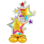 "Colourful Star Cluster AirLoonz Large Foil Balloons 34""/86cm x 59""/149cm P70 - 3 PC"